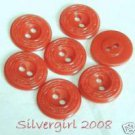 2 Holded Red Round Plastic Vintage Buttons