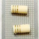 Set of 2 Cream and Gold 2 Hole Plastic Buttons Beads