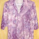 Vintage Polyester Purple Blue Pink Flower Blouse  SZ 18