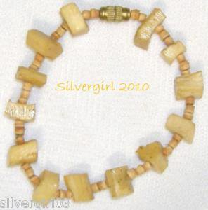 Varnished Wood Chunks Gold Plated Beaded Bracelet