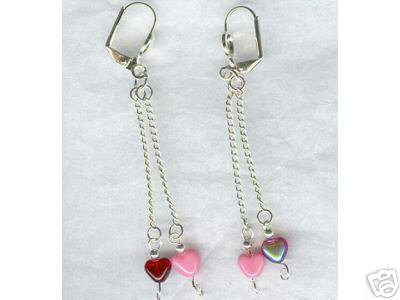 Glass Red Pink Heart Long Silver Chain Earrings