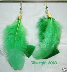 Gold Plate Emerald Green Feather Crystal Dangle Earring