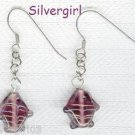 Purple Gold Lampwork Fish Earrings