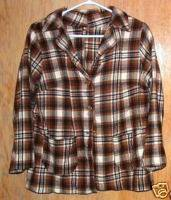 Ladies Vintage Plaid Wool Blend Blazer Jacket