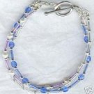 3 Strand Silver Blue Purple Glass Bracelet