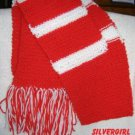 """7"""" x 62"""" Long Hand Knit Red White Scarf"""