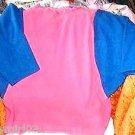 Pink Blue Raglan Sleeve Fleece Pullover
