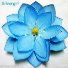 Large Blue Silk Flower Spring Hair Clip
