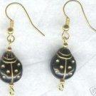 Black and Gold Ladybug Earrings