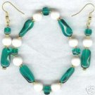Twirly Whirly Glass Green White Bracelet Earring Set
