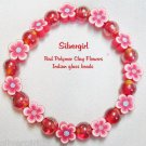 Polymer Clay Flower Glass Bead Stretch Bracelet Red 8 1/4""