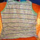 Green Purple Black Striped Ladies Tank Top  Size M
