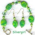 Lemon Lime Fizz Polymer Clay Bracelet Earrings