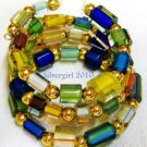 Multi Colored Furnace Glass Small Wrap Bracelet Choker