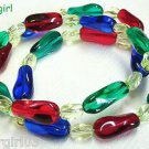 """22"""" Glass Red Green Blue Yellow Beaded Memory Wire Wrap Bracelet"""