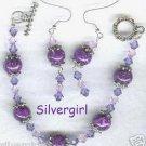ROYAL SUPREME Purple Crystal Bracelet Earring Set