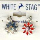 White Stag Reversable Red Rhinestone Flower Earrings