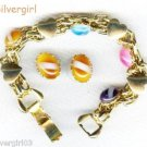 """7"""" Goldtone Chain Bracelet With 4 Colored Stones"""