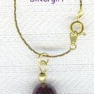 Deep Purple Glass Ball Necklace Gold Plate Chain