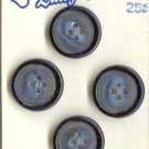 Set of 4 Vintage Blue Black Buttons