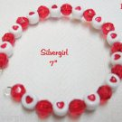 Red White Heart Plastic  Memory Wire Wrap Bracelet