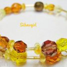 Gold Yellow Mix Glass Memory Wire Wrap Bracelet