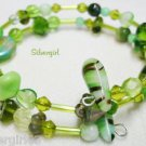 Olive Green Mix Tones Glass Memory Wire Wrap Bracelet