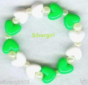 HEARTS DELIGHT Boutique Bead Bracelet Green White