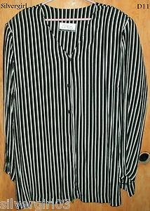 Black White Striped Antels SZ 44 Ladies Blouse Top SZ 42 Career-Casual