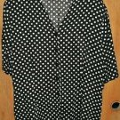 Black White Dot Antels SZ 44 Ladies Blouse Top SZ 44 Career-Casual