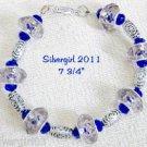 Silver Plated Cobalt Blue Crystal Plastic Sparkly Bracelet