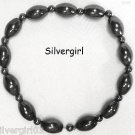 "Large 8"" Black Magnetic Hematite Gemstone Stretch Bracelet"