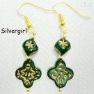 Black Gold Engraved Beaded Dangle Earrings