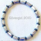 Magnetic Hematite Gemstone Stretch Bracelet Silver