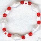 Girls Red White Heart Beaded Bracelet