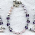 Amethyst Rose Quartz Pearl Bracelet Earring Set