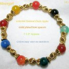 Multi Colored Onyx Agate Gemstone Ball GP Stretch Bracelet