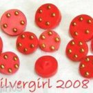 Red Gold Dotted Round Thick Vintage Buttons