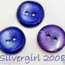 Set of 3 Royal Purple Plastic Vintage Buttons