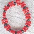 Red Black Flower Seed Bead Ring Size  7