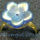 Fun Fashion Blue AB Coated Glass Flower Bead Ring GP