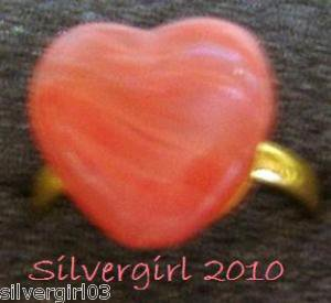 Fun Fashion Coral Swirled Glass Heart Bead Ring GP