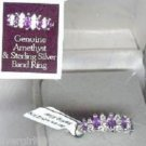 Sterling Silver Genuine Triple Amethyst Clear CZ Ring