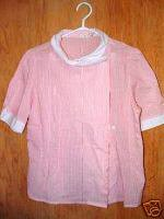 Polyester Cotton Pink Stripe Ladies Blouse