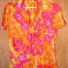 Vintage Ladies Soft Shiny Orange Pink Nylon Fitted Top