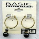 BASIC EDITIONS 14K Goldplate Hoops Black Beads