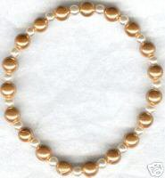 Magnetic Pearlized Gold Bead Bracelet