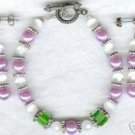 Lilac Green White Glass Beaded Bracelet Earrings Set