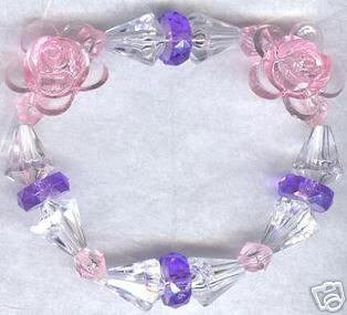 Spring Flower Boutique Bead Bracelet Purple Pink