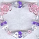 Spring Flower Boutique Bead Bracelet Purple Pink